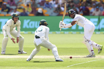 Cheteshwar Pujara at the crease on day two at the Gabba.