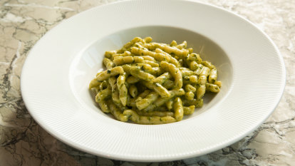 This pesto pasta is dinner and a show at Sydney's flash new Italian a'Mare