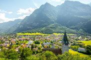 Landscape view on Balzers village with saint Nicholas church in Liechtenstein SatSept15Liechtenstein - Liechtenstein Trail - Tim Richards