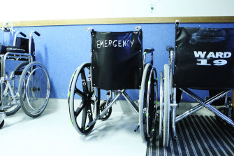 Michelle Minchin had to wait 13 hours in a wheelchair before getting a temporary bed at Joondalup Private Hospital.