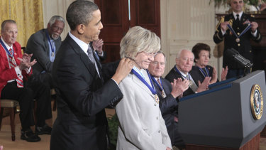 Then president Barack Obama presenting a Medal of Freedom to Jean Kennedy Smith in 2011.