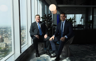 Centuria joint managing directors John McBain (left) and Jason Huljich (right) in their offices in the Sydney CBD.