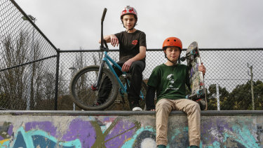 Ethan Dahlstrom-Slidders (left) and Dan Fathers are looking forward to returning to their skate park in Gisborne.