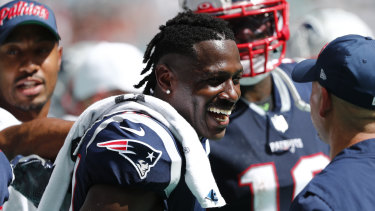 Antonio Brown is all smiles during New England's big win over Miami.