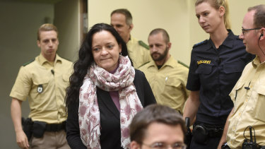 Beate Zschaepe, the sole survivor of the self-styled National Socialist Underground, arriving in court.