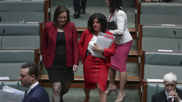 Outgoing Minister for Women Kelly O'Dwyer and former Liberal MP Julia Banks in Parliament.