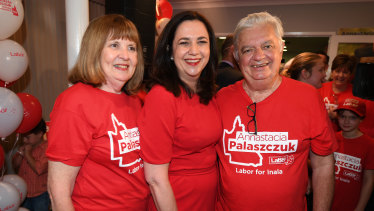 Queensland Premier Annastacia Palaszczuk with her parents Henry and Lorelle on election night in 2017.