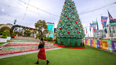 A Christmas tree at Federation Square in Melbourne today.