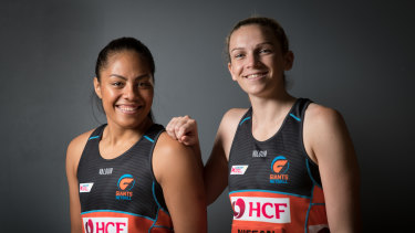 New Giants captain Jo Harten (right) with vice-captain Kristiana Manu'a.