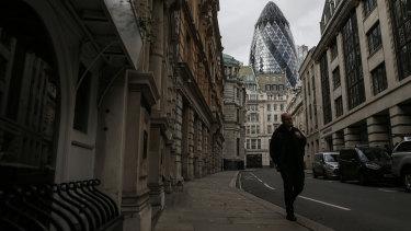 An empty Lloyd's Avenue in central London.