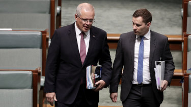 Special Minister for State Alex Hawke, pictured with Prime Minister Scott Morrison, said his party should consider quotas for women.