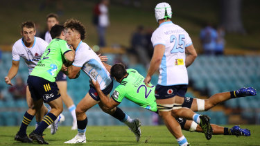 Mark Nawaqanitawase in action for the Waratahs on Friday evening at Leichhardt Oval.