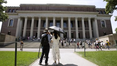 The Widener Library on the campus of Harvard University in Cambridge, Massachusetts.