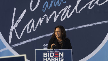 Democratic vice-presidential candidate  Kamala Harris speaks during a campaign event at Morehouse College in Atlanta on Friday.
