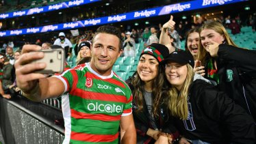 Selfie confidence: Sam Burgess has been in great form this season - and the fans know it.