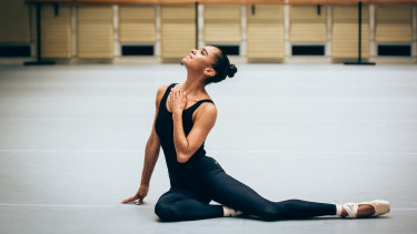 Misty Copeland rehearsing the role of Sylvia at the Sydney Opera House.