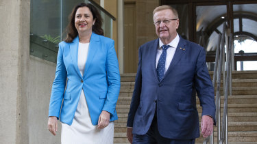 Australian Olympic Committee president John Coates with Premier Annastacia Palaszczuk on an earlier visit to Queensland last month.