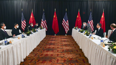 Secretary of State Antony Blinken, second from right, National Security Adviser Jake Sullivan, right, in talks with Chinese Communist Party foreign affairs chief Yang Jiechi, and China's State Councilor Wang Yi in Anchorage, Alaska.