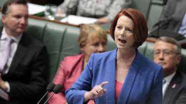 "Julia Gillard delivers her ""misogyny speech"" in Parliament in October 2012."