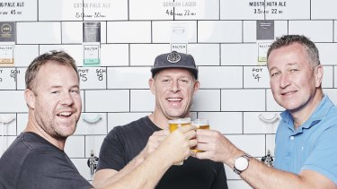 Balter CEO and co-founder Ant Macdonald, co-founder Mick Fanning and CUB chief executive Peter Filipovic.