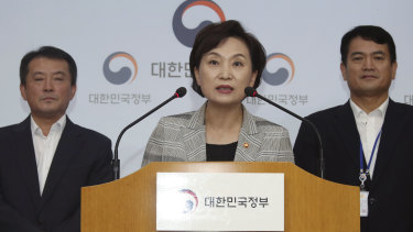 South Korean Minister of Land Infrastructure and Transport, Kim Hyun-mee, centre, speaks at a press conference in Seoul on Tuesday.
