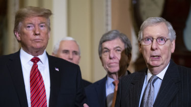 Senate Majority Leader Mitch McConnell, a Republican, on right, discouraged Republicans from voting on the bill.