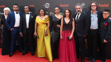 The cast and crew of AACTA-winning series Mystery Road on the red carpet at the 2018 event.