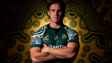 Wallabies captain Michael Hooper in the First Nations jersey.