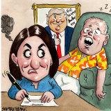 Gladys Berejiklian, Scott Morrison and Donald Trump. Illustration: John Shakespeare
