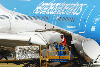 A container carrying some of the first batch of 300,000 Sputnik vaccines arrives in Ezeiza, Argentina, in December.