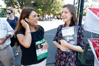 Clare Burns (right) with Lidia Thorpe, who won the seat of Northcote in 2017.