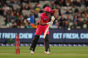 Moises Henriques bats during the Big Bash League match between Melbourne Stars and the Sydney Sixers on Sunday.