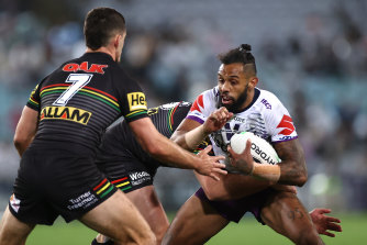 Playing catch-up: Storm speedster Josh Addo-Carr during the 2020 NRL grand final between the Panthers and the Storm at Stadium Australia.