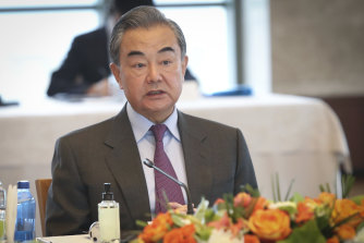 China's Foreign Minister Wang Yi, pictured in March in Ankara, said the sanctions made Chinese people think of when they were bullied by European imperialists in the past.