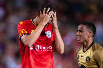 Adelaide United's George Blackwood after missing the injury-time penalty that handed the Wanderers victory.