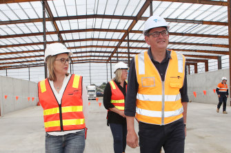 Transport Minister Jacinta Allan (left) and Premier Daniel Andrews tour the West Gate Tunnel site in December.