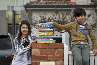 During lockdown Kiara and Samuel Louca of Coburg look forward to book deliveries by The Little Bookroom staff.