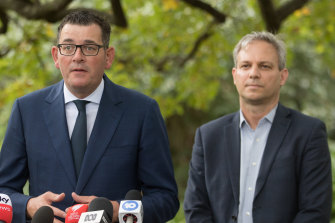 Victorian Premier Daniel Andrews, flanked by Victoria's Chief Health Officer Dr Brett Sutton, predicted a health and economic crisis like the nation had rarely seen.