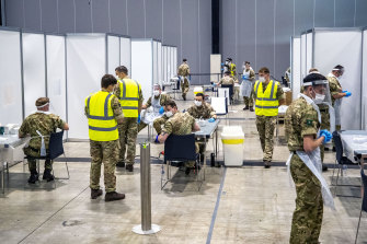 The military was brought in to help test thousands of people at the new COVID-19 testing sites.