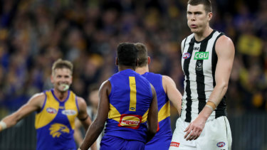 Blow out: Magpie Mason Cox was unable to exploit his height advantage against the Eagles at Optus Stadium.