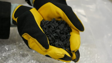 Plastic pellets made from soft plastics such as used plastic bags and packaging.