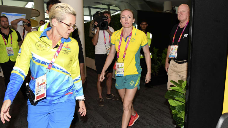 Pearson leaves her press conference on Thursday.