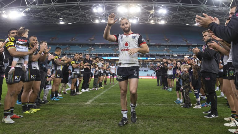 Club legend: Simon Mannering is clapped off the field after a career spanning 301 NRL games.
