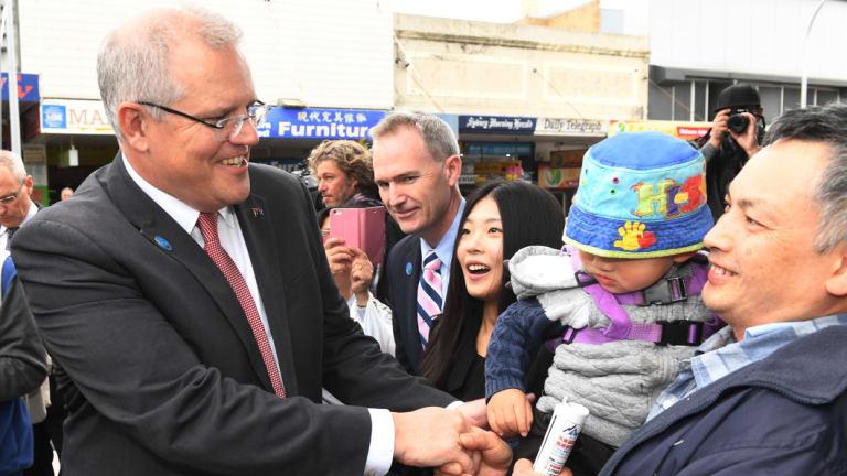 Prime Minister Scott Morrison meets voters in the Sydney suburb of Hurstville.