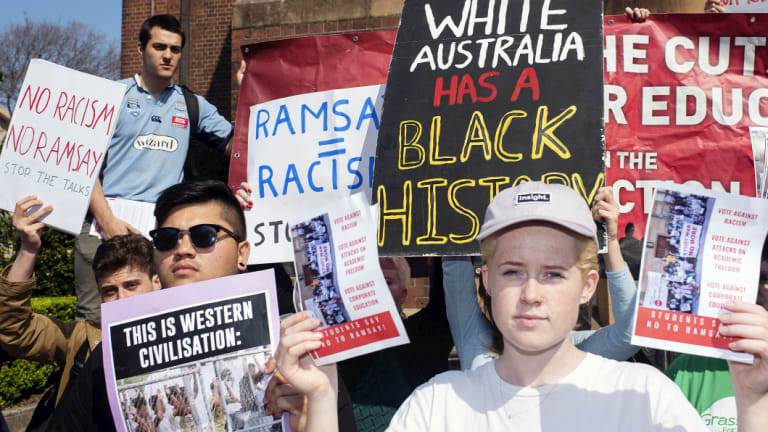 Sydney University students protest against the Ramsay Centre.