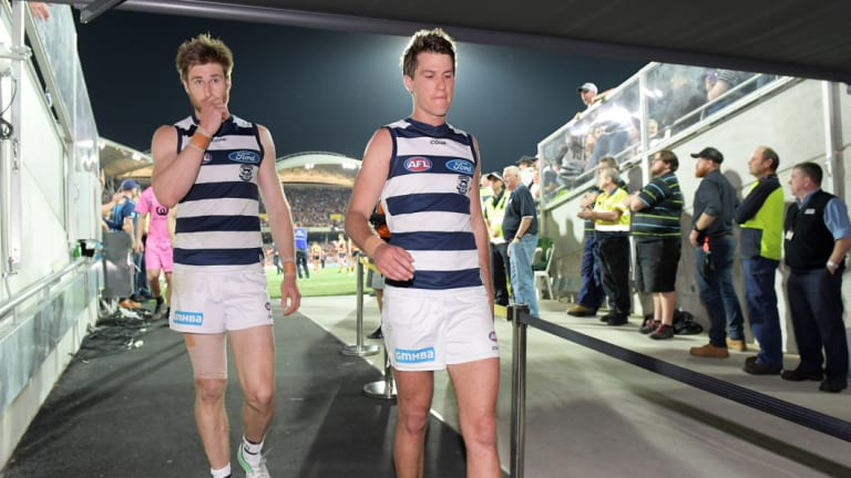 The retirements of Tom Lonergan (left) and Andrew Mackie have left substantial holes in Geelong's defence.