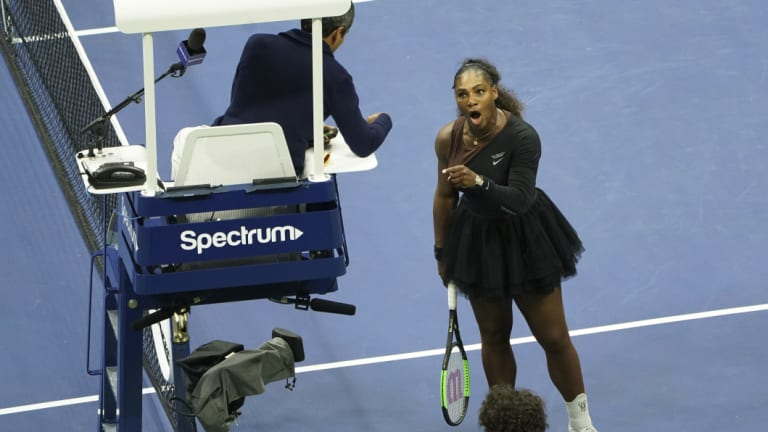 Confrontation: Serena Williams argues with the chair umpire.