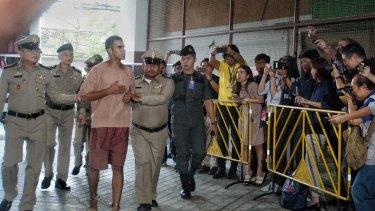 Hakeem al-Araibi arrives at the court.