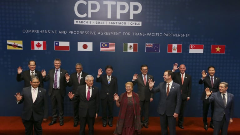 A meeting of TPP-11 members in March.