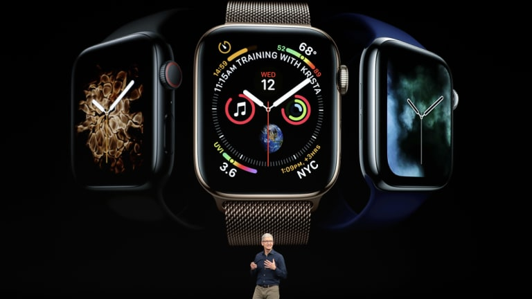 Apple chief exective Tim Cook unveils the new Apple Watch 4  last month.